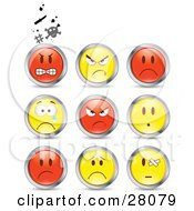 Set Of Mad Angry Bully Crying And Bandaged Red And Yellow Emoticon Faces Circled In Chrome