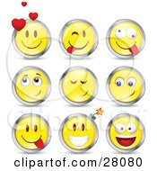 Clipart Illustration Of A Set Of Infatuated Teasing Goofy And Bomb Yellow Emoticon Faces Circled In Chrome by beboy