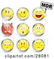 Set Of Mad Mean Devil Scared Crying And Upset Red And Yellow Emoticon Faces Circled In Chrome