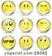 Clipart Illustration Of A Set Of Winking Smiling Happy Awed Cool Silenced And Nervous Yellow Emoticon Faces Circled In Chrome