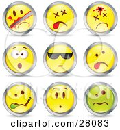 Clipart Illustration Of A Set Of Sliced Dead Shot Shocked Cool Sick And Upset Green And Yellow Emoticon Faces Circled In Chrome