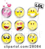 Clipart Illustration Of A Set Of Infatuated Laughing Nervous Hurt And Surprised Pink And Yellow Emoticon Faces Circled In Chrome