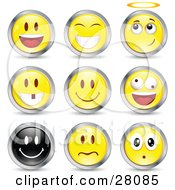 Clipart Illustration Of A Set Of Happy Angelic Goofy And Upset Black And Yellow Emoticon Faces Circled In Chrome