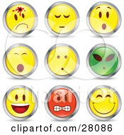 Clipart Illustration Of A Set Of Shot Shocked Alien Happy Mad And Grinning Red Green And Yellow Emoticon Faces Circled In Chrome