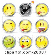 Clipart Illustration Of A Set Of Happy Bomb Goofy Teasing Sick And Winking Black Green And Yellow Emoticon Faces Circled In Chrome