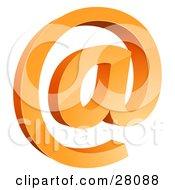 3d Orange Arobase Or Email At Symbol