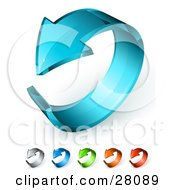 Clipart Illustration Of A 3d Blue Glass Arrow Curling In A Circle Includes Gray Dark Blue Green Orange And Red Versions