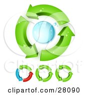 Green Arrows Circling Around A Blue Water Droplet Symbolizing Water Purification And Recycling
