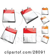 Clipart Illustration Of A Set Of Orange And Red Flip Page Desk Top Calendars With Blank Pages