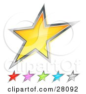 Clipart Illustration Of A Set Of Yellow Red Pink Green Blue And Silver Stars Over White