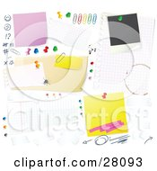 Clipart Illustration Of A Cluttered White Bulletin Board Background With Tally Marks Faces Push Pins Thumb Tacks Blank Messages And Sticky Notes