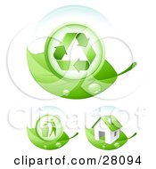 Clipart Illustration Of A Set Of Dew Covered Green Leaves With Recycle Arrows A Person Throwing Trash Away And An Energy Efficient Home by beboy