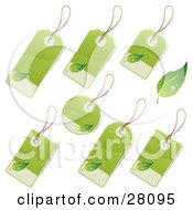 Clipart Illustration Of A Set Of Rounded Rectangle And Circular Blank Labels With Green And Tan Backgrounds And Leaf Icons Great For Organic Products