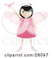 Clipart Illustration Of A Black Haired Fairy Woman In A Pink Dress And Heels With Big Pink Wings And A Halo Holding A Winged Heart Up
