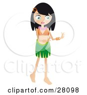 Clipart Illustration Of A Pretty Black Haired Woman Hula Dancing In A Hawaiian Luau by Melisende Vector
