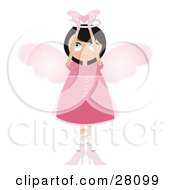 Clipart Illustration Of A Black Haired Fairy Woman In A Pink Dress And Heels With Big Pink Wings And A Halo Holding A Winged Heart Above Her Head by Melisende Vector