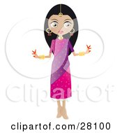 Pretty Black Haired Indian Bollywood Woman In A Pink And Purple Dress