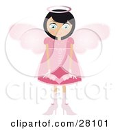 Clipart Illustration Of A Black Haired Fairy Woman In A Pink Dress And Heels With Big Pink Wings And A Halo Holding A Winged Heart In Front Of Her by Melisende Vector