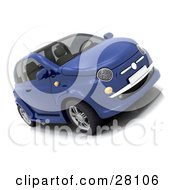 Clipart Illustration Of A Fuel Efficient Compact Blue Car by KJ Pargeter