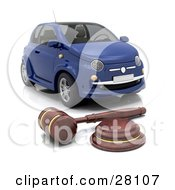 Clipart Illustration Of A Judges Wooden Gavel In Front Of A Repossessed Blue Car