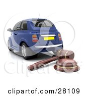 Clipart Illustration Of A Wooden Judge Or Auctioneer Gavel Behind A Repossessed Or Blue Auction Car