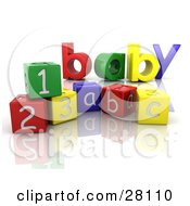 The Colorful Word Baby Behind Number And Alphabet Toy Blocks On A Reflective White Surface