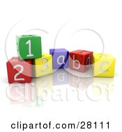 Clipart Illustration Of Colorful Number And Alphabet Toy Blocks On A Reflective White Surface by KJ Pargeter