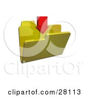 Clipart Illustration Of A Red Download Arrow Pointing Down Over A Yellow Folder by KJ Pargeter