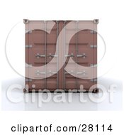 Clipart Illustration Of A Closed Brown Freight Container