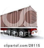 Clipart Illustration Of A Big Rig Backing Up With A Brown Cargo Box by KJ Pargeter
