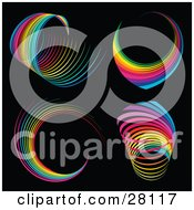 Set Of Four Spiraling Rainbows Over A Black Background