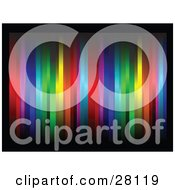 Background Of Vertical Colorful Lines Bordered By Black