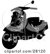 Clipart Illustration Of A Black Silhouetted Scooter Bike With Elegant Designs by KJ Pargeter