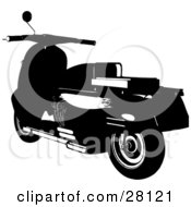 Clipart Illustration Of A Silhouetted Scooter Moped Bike With Elegant Designs