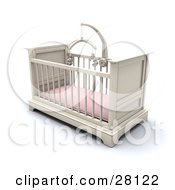 White Girls Baby Crib In A Nursery With A Pink Pad And Teddy Bear Mobile