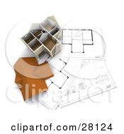 Clipart Illustration Of A Roof Resting Beside A Model Home On Top Of Floor Plans
