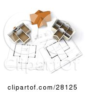 Clipart Illustration Of A Roof Resting Between Two Model Homes On Floor Plans by KJ Pargeter
