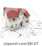 Clipart Illustration Of A Complete Home Resting On Floor Plans by KJ Pargeter