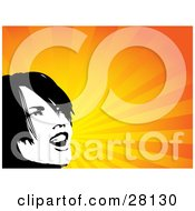Clipart Illustration Of A Black And White Woman Yelling Over A Bursting Background