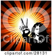 Clipart Illustration Of A Hippie Woman Gesturing The Peace Sign With Her Hand Over A Bursting Background by KJ Pargeter
