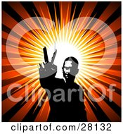 Clipart Illustration Of A Hippie Man Gesturing The Peace Sign With His Hand Over A Bursting Background