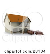 Auctioneer Gavel Resting In Front Of A Foreclosed Home