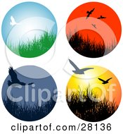 Clipart Illustration Of A Set Of Four Wildlife Birds Flying Over Grasses In Circle Icons