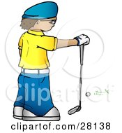 Clipart Illustration Of A Man In A Yellow Shirt And Blue Hat Standing In Front Of A Golf Ball And Resting His Hand On A Club