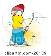 Clipart Illustration Of A Man In A Yellow Shirt And Red Hat Preparing To Tee Off by KJ Pargeter