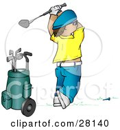 Clipart Illustration Of A Man In A Yellow Shirt And Blue Hat Teeing Off While Golfing