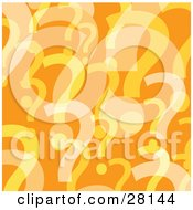 Clipart Illustration Of A Background Of Yellow And White Question Marks Over Orange