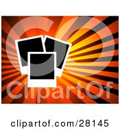 Clipart Illustration Of A Set Of Three Blank Polaroid Pictures Over A Bursting Orange And Red Background by KJ Pargeter