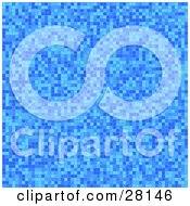 Clipart Illustration Of A Blue Mosaic Or Pixel Background