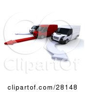 Clipart Illustration Of Two White Delivery Vans Driving Beside A Red One All On Matching Arrows